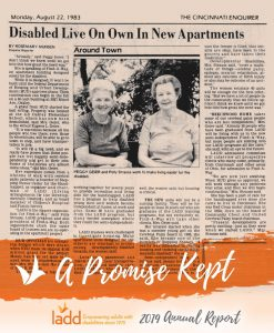 """Cover page of 2019 Annual Report, featuring a newspaper article from the 1970s with overlaying text: """"A Promise Kept"""""""