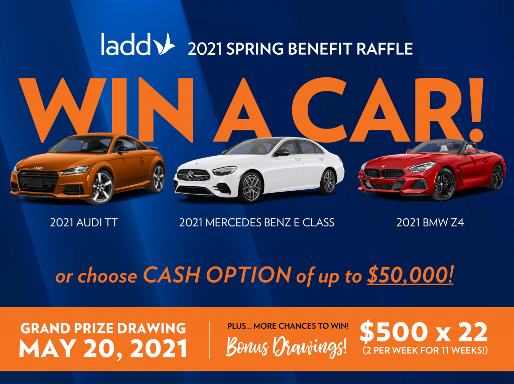 "A blue and orange graphic that says ""WIN A CAR!"" with images of three cars."